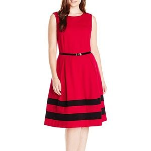 Calvin Klein Dresses Faux Leather Colorblock Sheath